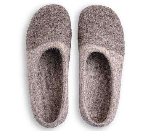 Filzhausschuhe hell grau zweifarbig