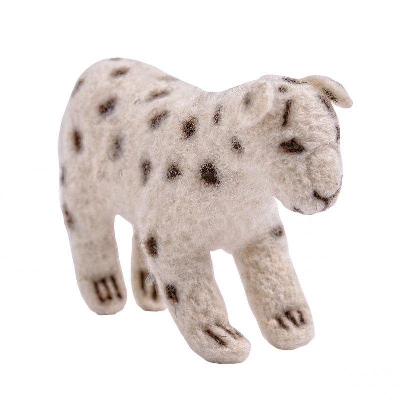 schneeleopard aus wollfilz