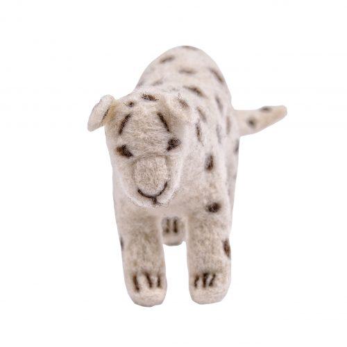 schneeleopard frontal aus wollfilz