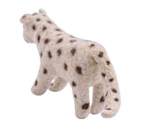 schneeleopard von hinten dekofigur aus wollfilz