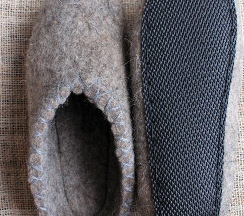 Handgemachte filzschuhe Herren grau mit Sohle 4