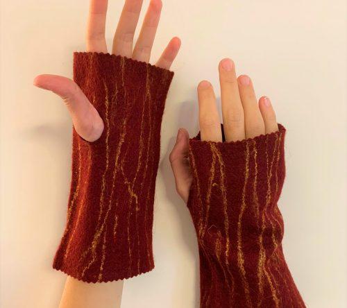 Filzstulpen rot fingerlos armstulpen