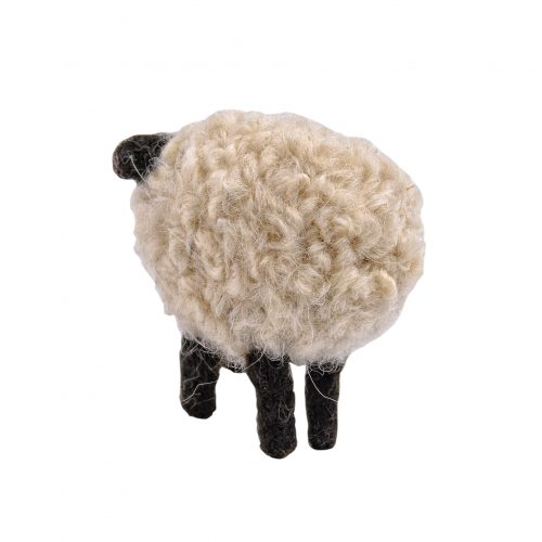 Schaf filzfigur von hinten aufgenommen