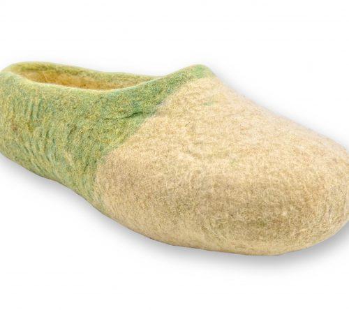 Grün gelbe filzschuhe aus wolle mit noppen 6