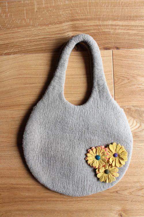 Tasche grün-grau Wolle